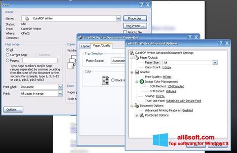 Снимка на екрана CutePDF Writer за Windows 8