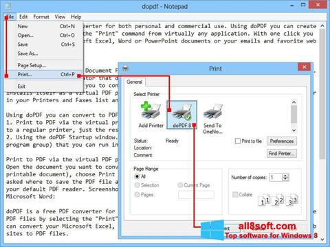 Снимка на екрана doPDF за Windows 8
