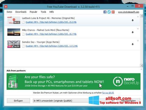 Снимка на екрана Free YouTube Download за Windows 8