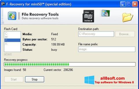 Снимка на екрана F-Recovery SD за Windows 8