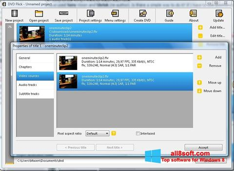 Снимка на екрана DVD Flick за Windows 8