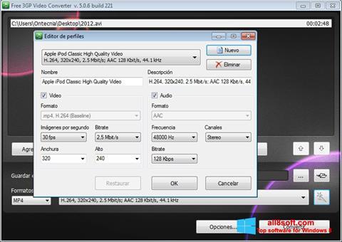 Снимка на екрана Free MP4 Video Converter за Windows 8