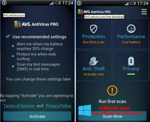 Снимка на екрана AVG AntiVirus Pro за Windows 8