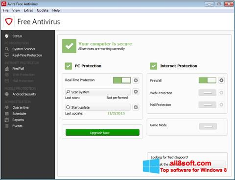 Снимка на екрана Avira Free Antivirus за Windows 8