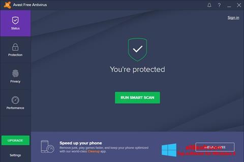 Снимка на екрана Avast Free Antivirus за Windows 8