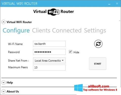 Снимка на екрана Virtual WiFi Router за Windows 8