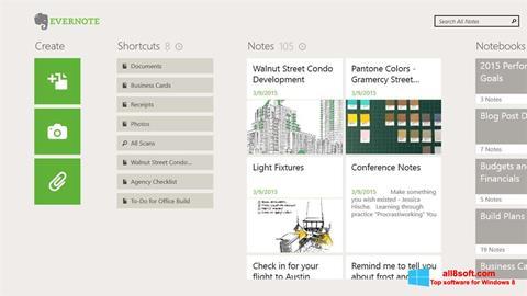 Снимка на екрана Evernote за Windows 8