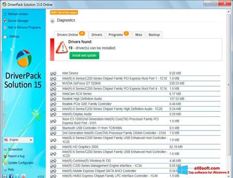 Снимка на екрана DriverPack Solution за Windows 8