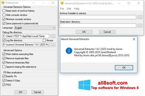 Снимка на екрана Universal Extractor за Windows 8