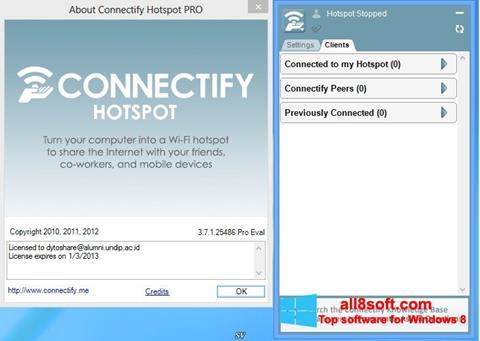 Снимка на екрана Connectify Hotspot за Windows 8