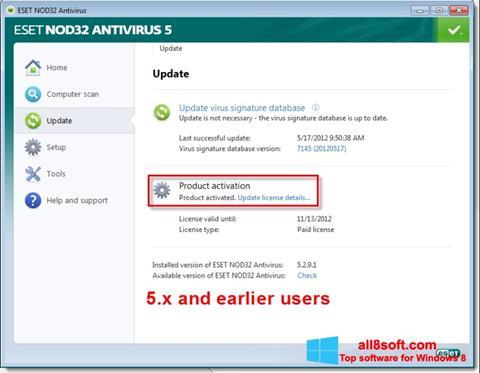 Снимка на екрана ESET NOD32 за Windows 8