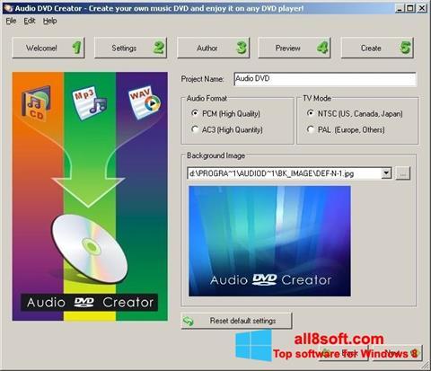 Снимка на екрана Audio DVD Creator за Windows 8