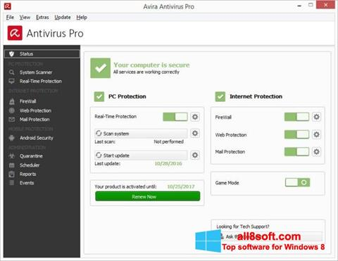 Снимка на екрана Avira Antivirus за Windows 8