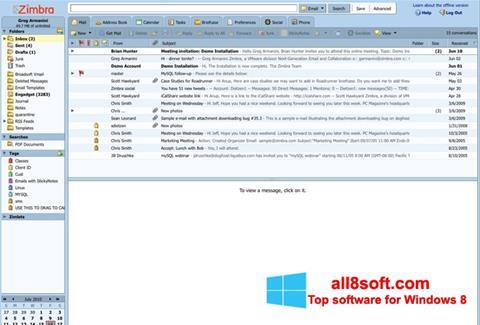 Снимка на екрана Zimbra Desktop за Windows 8