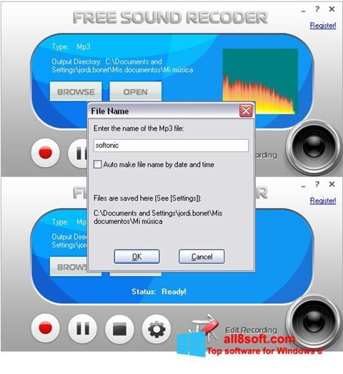 Снимка на екрана Free Sound Recorder за Windows 8