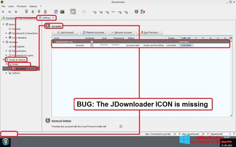 Снимка на екрана JDownloader за Windows 8