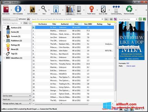 Снимка на екрана Calibre за Windows 8