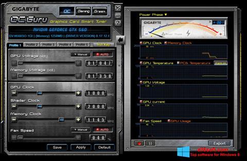 Снимка на екрана GIGABYTE OC Guru за Windows 8