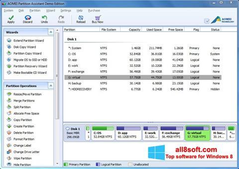 Снимка на екрана AOMEI Partition Assistant за Windows 8