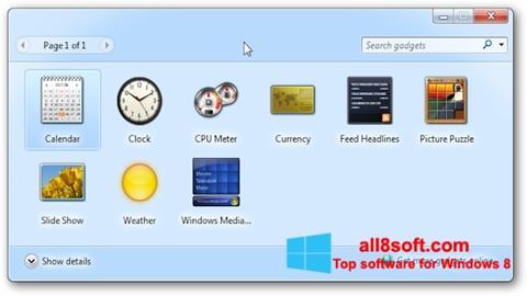 Снимка на екрана 8GadgetPack за Windows 8