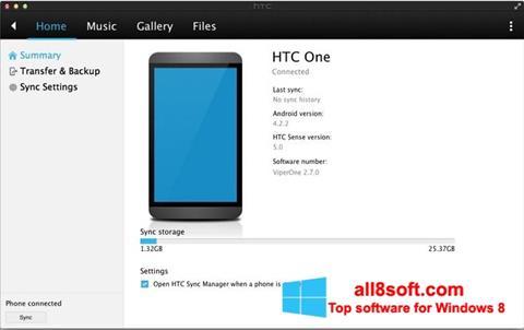 Снимка на екрана HTC Sync за Windows 8