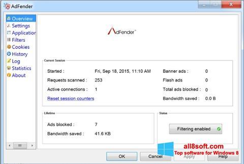 Снимка на екрана AdFender за Windows 8