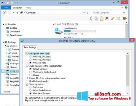 Снимка на екрана Classic Shell за Windows 8