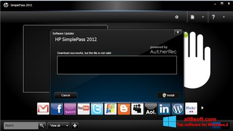 Снимка на екрана HP SimplePass за Windows 8