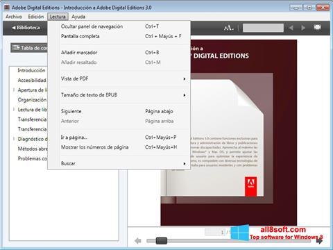Снимка на екрана Adobe Digital Editions за Windows 8