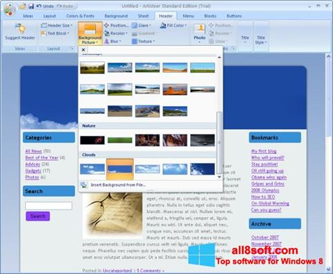 Снимка на екрана Artisteer за Windows 8