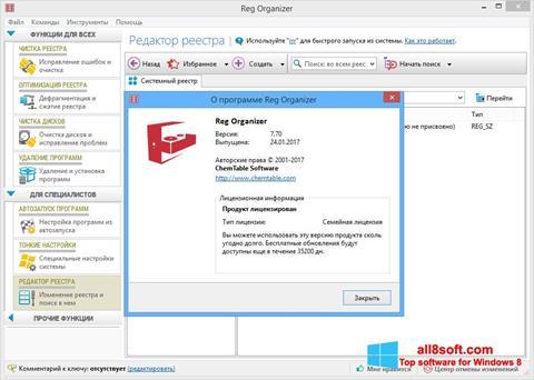 Снимка на екрана Reg Organizer за Windows 8