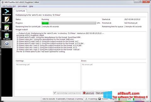 Снимка на екрана MKVToolnix за Windows 8