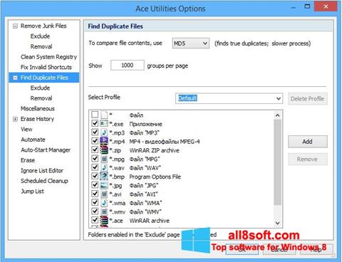 Снимка на екрана Ace Utilities за Windows 8