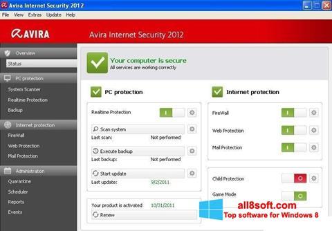 Снимка на екрана Avira Internet Security за Windows 8