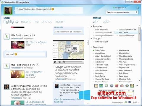 Снимка на екрана Windows Live Messenger за Windows 8