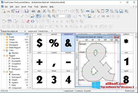 Снимка на екрана Font Creator за Windows 8
