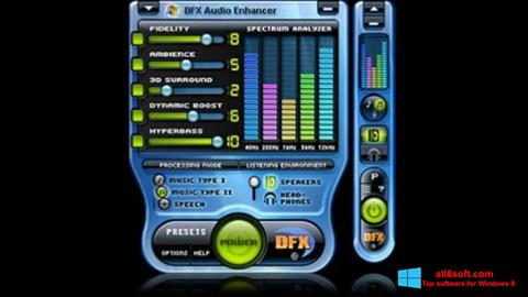 Снимка на екрана DFX Audio Enhancer за Windows 8