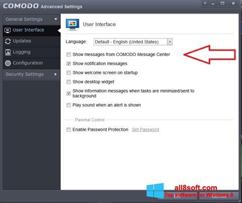 Снимка на екрана Comodo за Windows 8