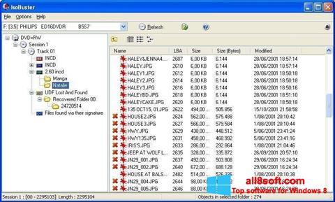 Снимка на екрана IsoBuster за Windows 8