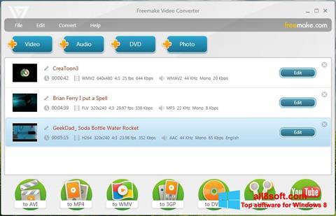 Снимка на екрана Freemake Video Converter за Windows 8