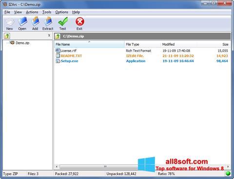Снимка на екрана IZArc за Windows 8