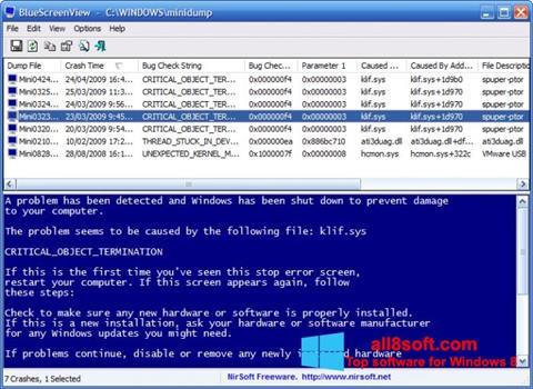 Снимка на екрана BlueScreenView за Windows 8