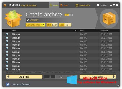 Снимка на екрана Hamster Free ZIP Archiver за Windows 8