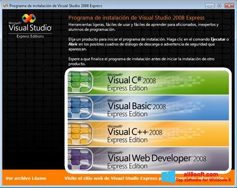 Снимка на екрана Microsoft Visual Studio за Windows 8