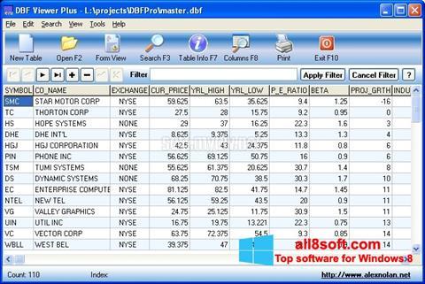 Снимка на екрана DBF Viewer за Windows 8