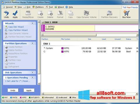 Снимка на екрана EASEUS Partition Master за Windows 8