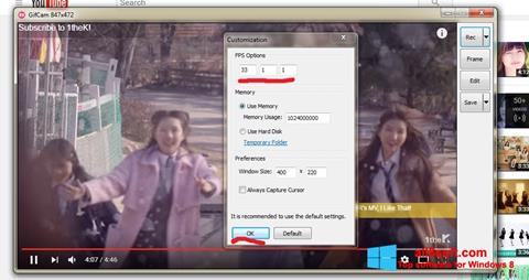 Снимка на екрана GifCam за Windows 8
